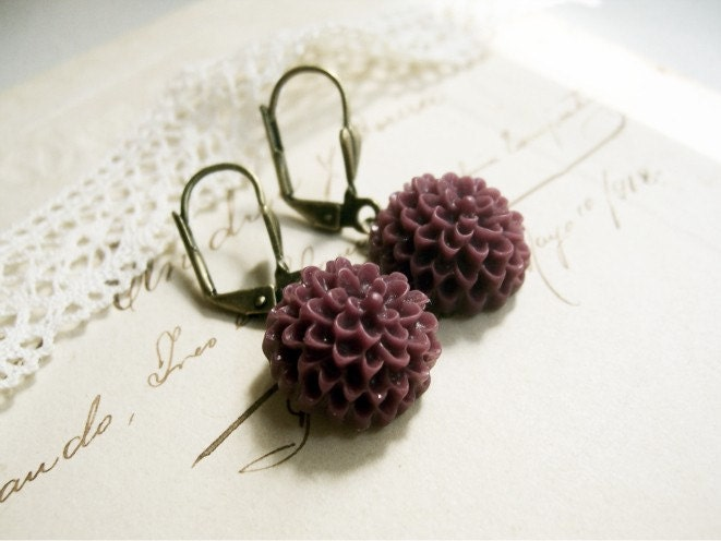 Purplish Dahlia Flowers Earrings