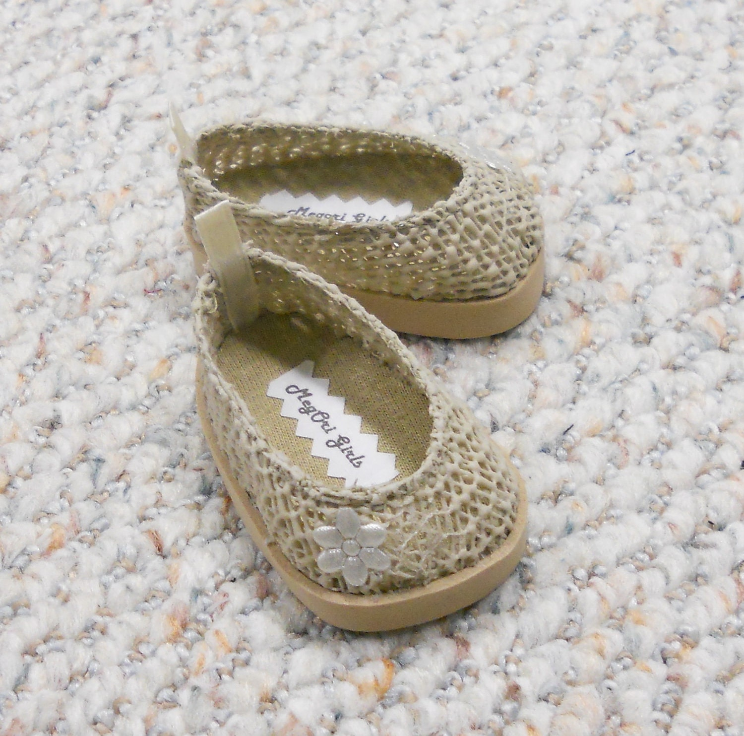 "American Girl 18"" Doll Shoes ""Lace"" Beige Slip On Flats - Original by MegOriGirls"