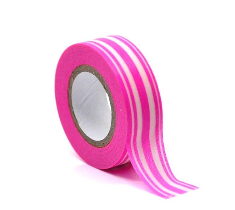 Washi Tape - Hot Pink Stripes Washi Tape - Japanese Masking Tape - 10 mt - pinkdotsetc