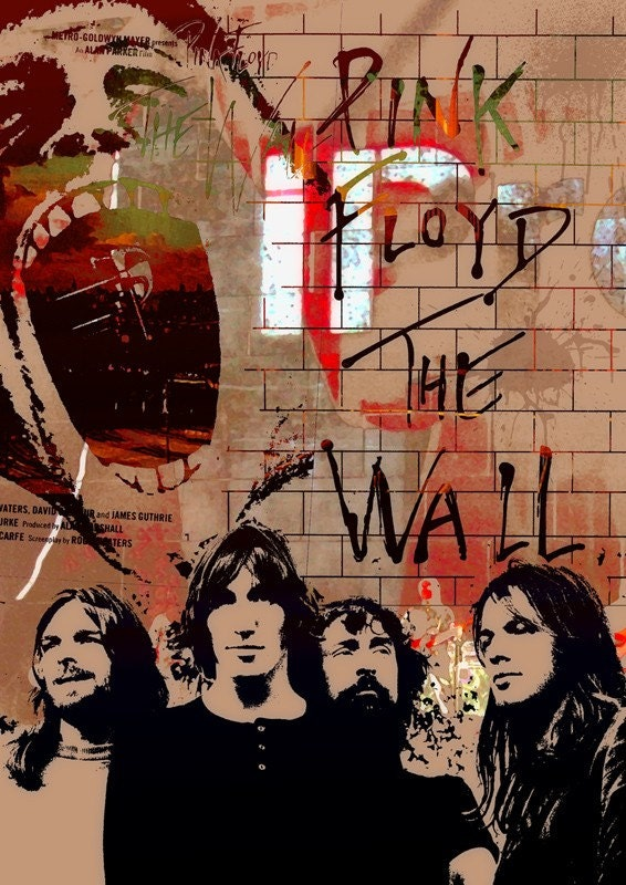 Mixed media Music poster fine art - Pink Floyd- The wall  - size 11,69 X 16,535 inches in brown red gold tones by Artistico Handmade Wall Decor