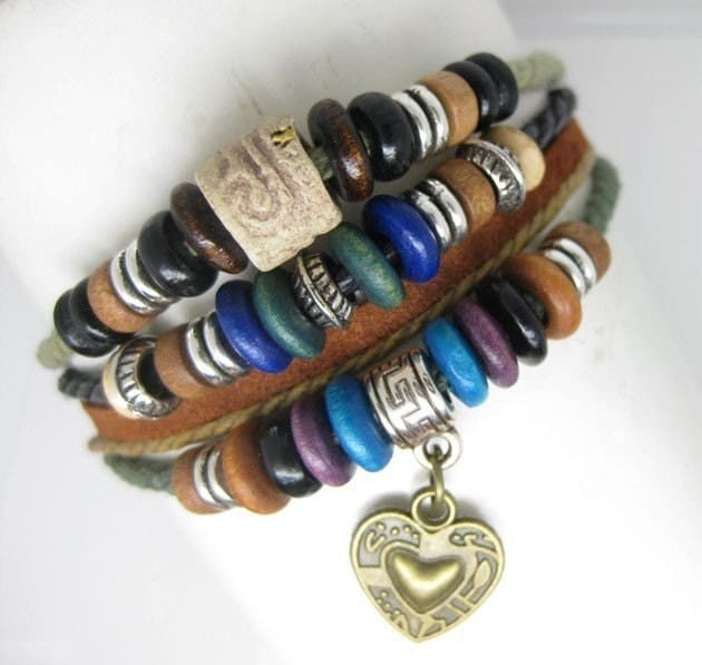 Multi cotton ropes with leather and small wooden beads heart charm bracelet