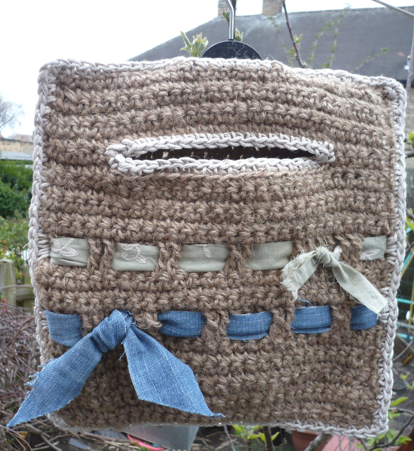 Items similar to Clothespin Peg Bag crocheted jute ...