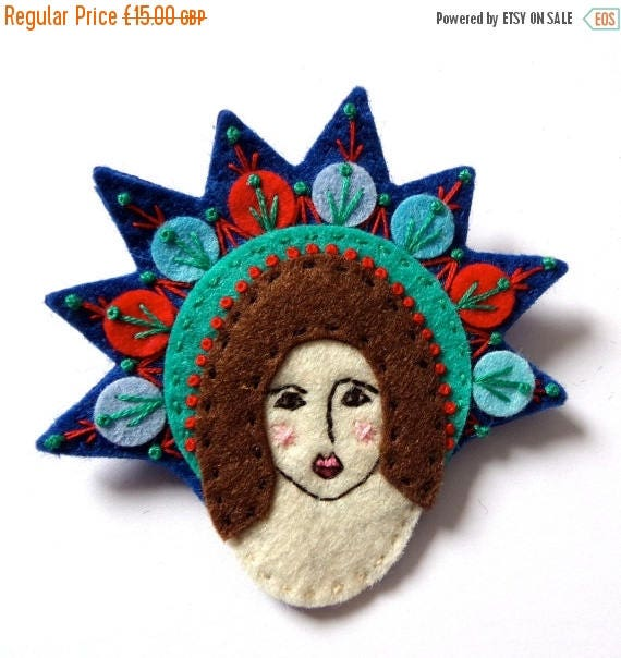 EASTER SALES EVENT Mexican Guardian Angel felt brooch pin with freeform embroidery