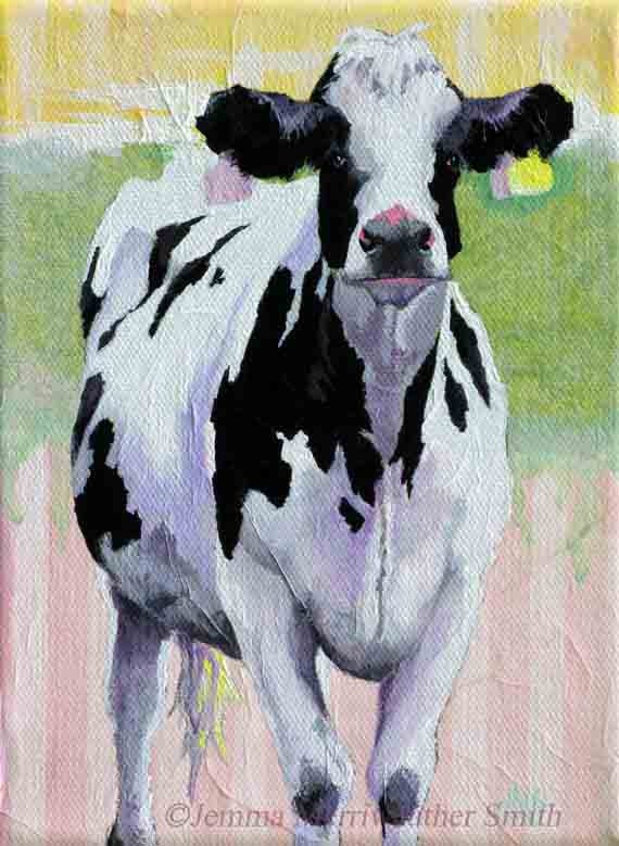 Aceo cow print of cow painting collectable cow art by for Cow painting print