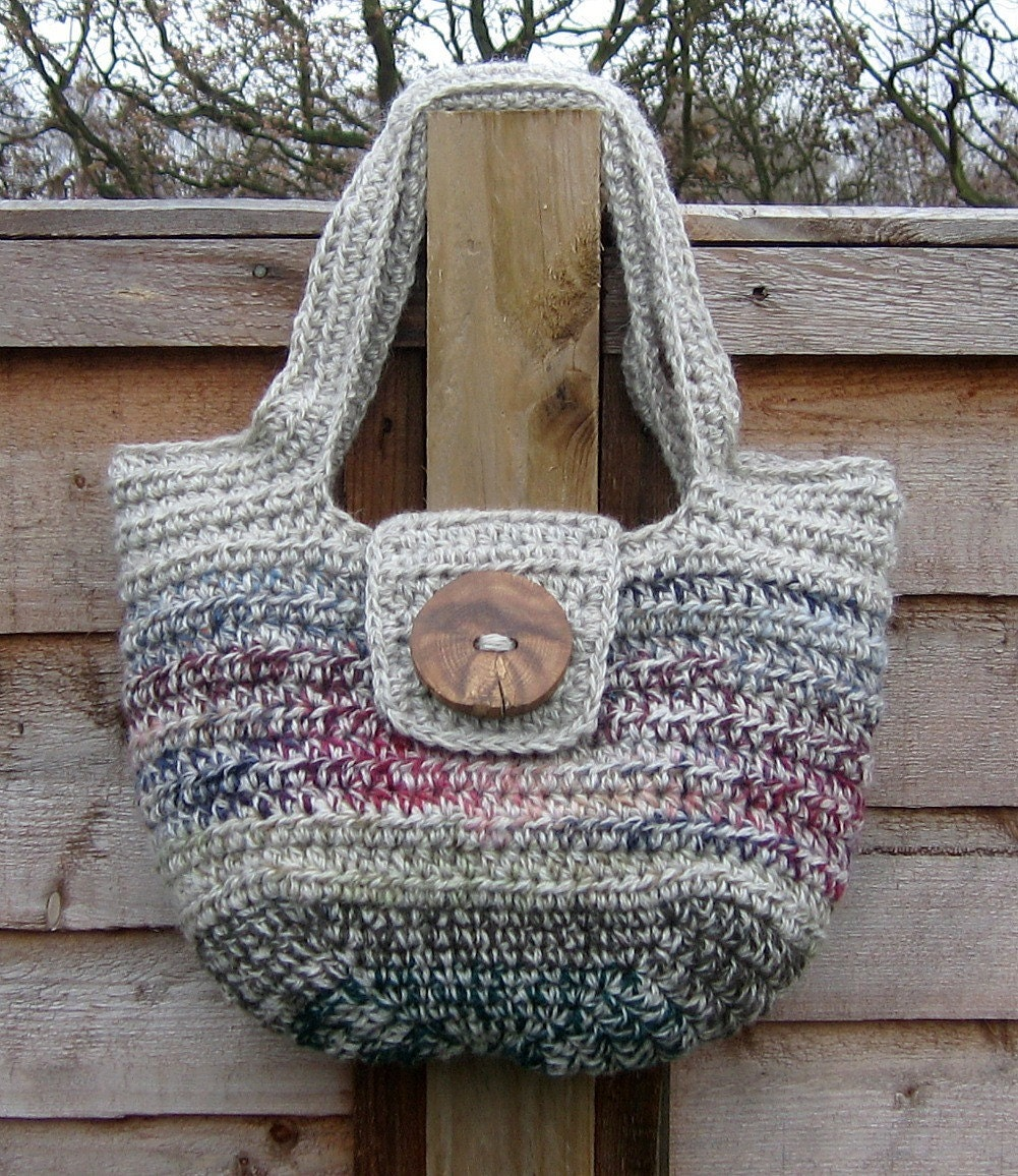 Pure Wool Handbag Crochet Gray Gotland Green Burgundy Blue Natural Wood Button