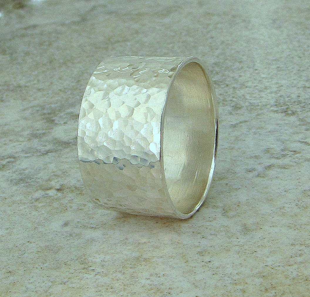 Sterling Silver Hammered Wide Wedding Ring Band by SilverSmack from etsy.com