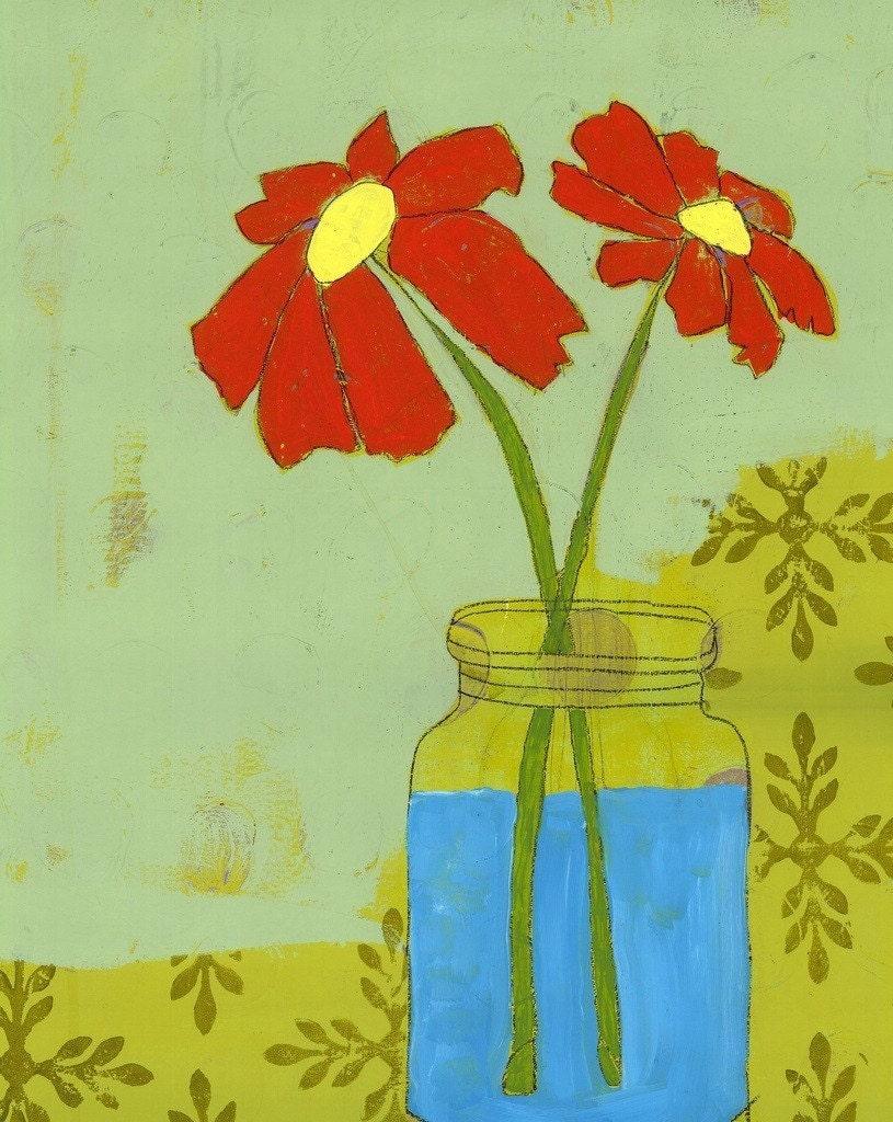 PRINT of -Jar Flowers - original painting