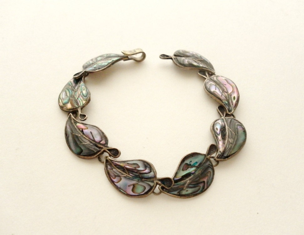 Taxco Sterling Silver and Abalone Leaf Bracelet