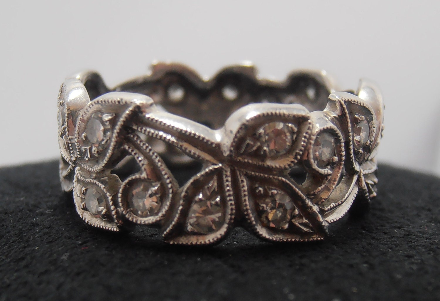 antique deco platinum and eternity band by gems4borth