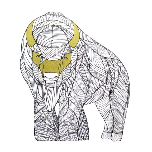 Line Art Etsy : Buffalo line drawing art by thailan when on etsy