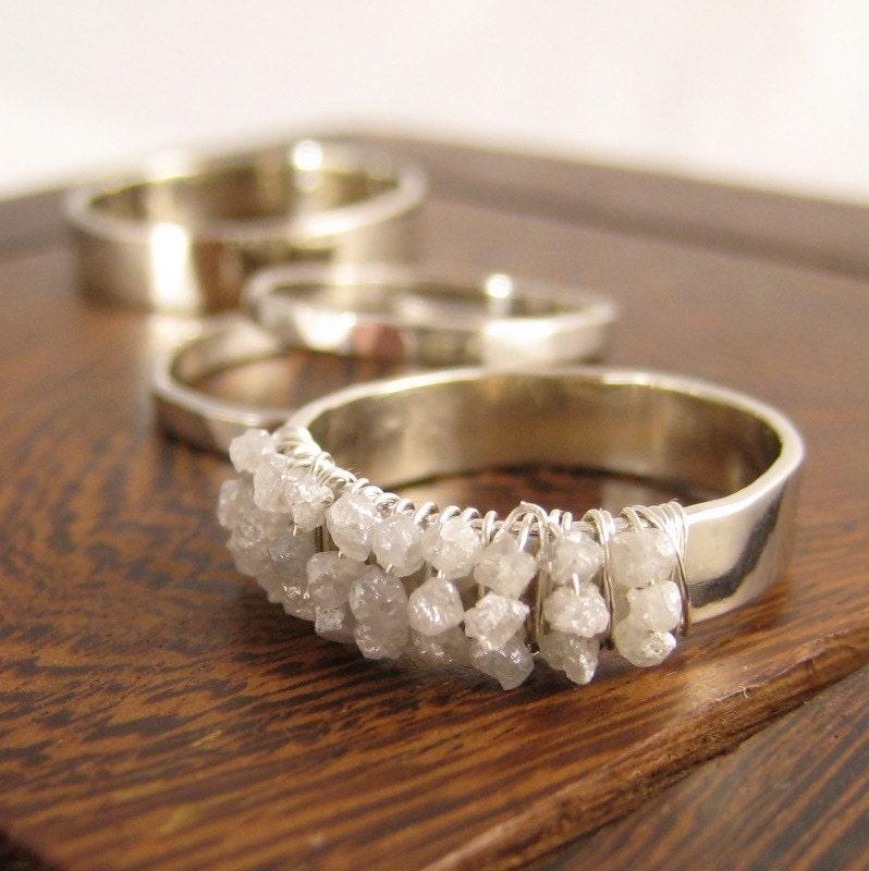 Handmade Weddings on Etsy White Wedding Set 14K White Gold and Rough