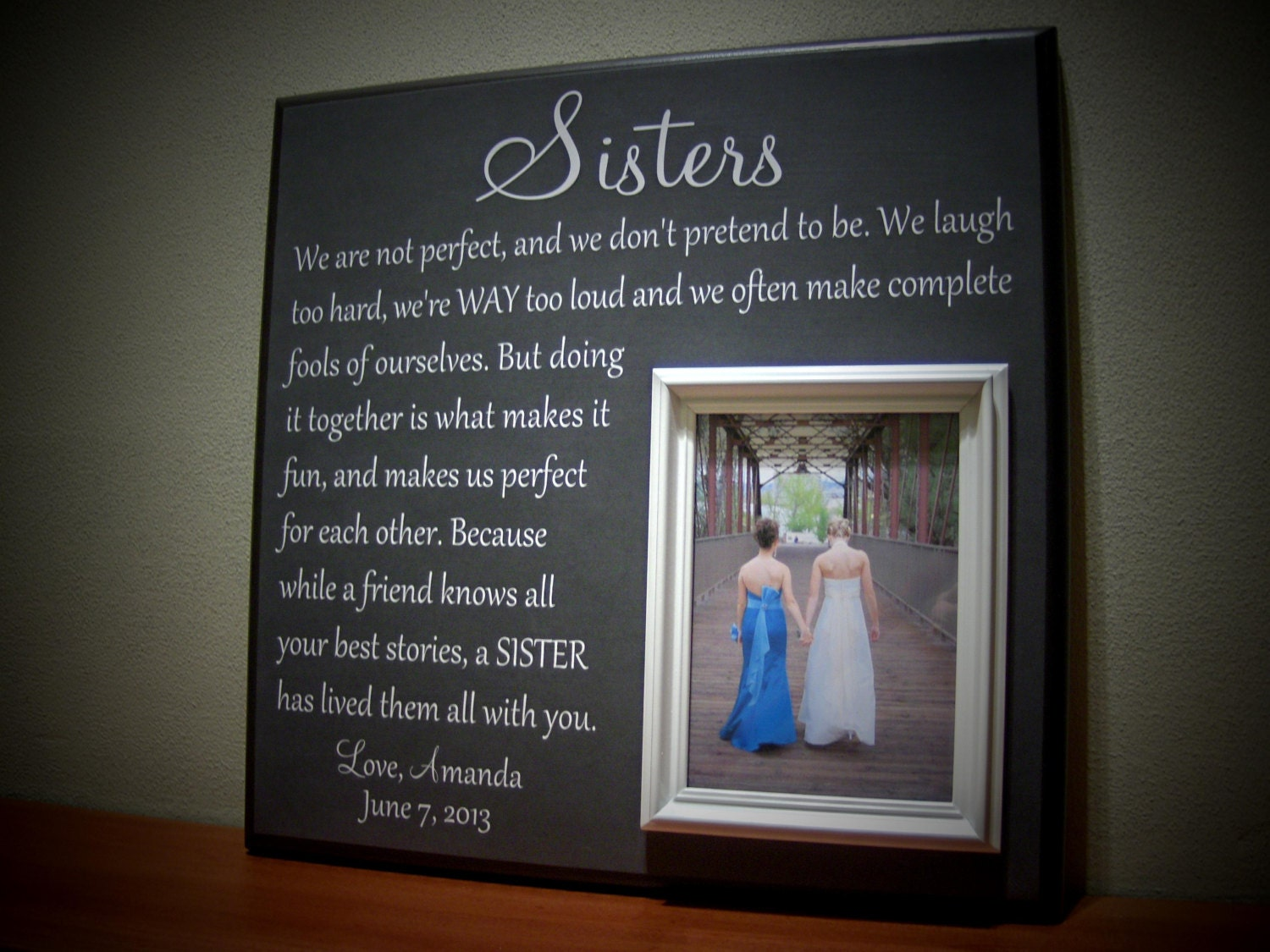 Perfect Wedding Gift For Sister : Picture Frame Gift for Sisters Wedding Thank by YourPictureStory