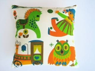 Vintage juvenile 60s 70s fabric cushion pillow owl train doll horse