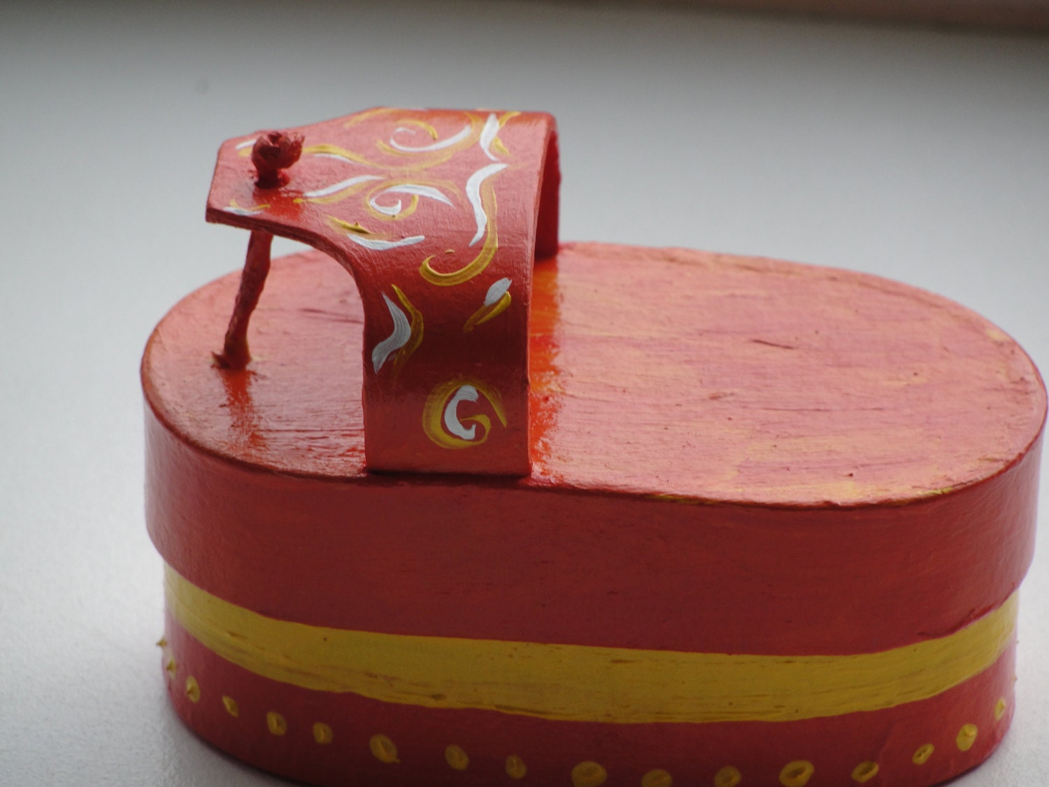 SUMMER FLIPFLOP BOX  orange flip flop shaped box hand painted orange yellow white