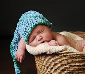 A Star is Born...Spiral Stocking Cap for Newborn in Sky Blue