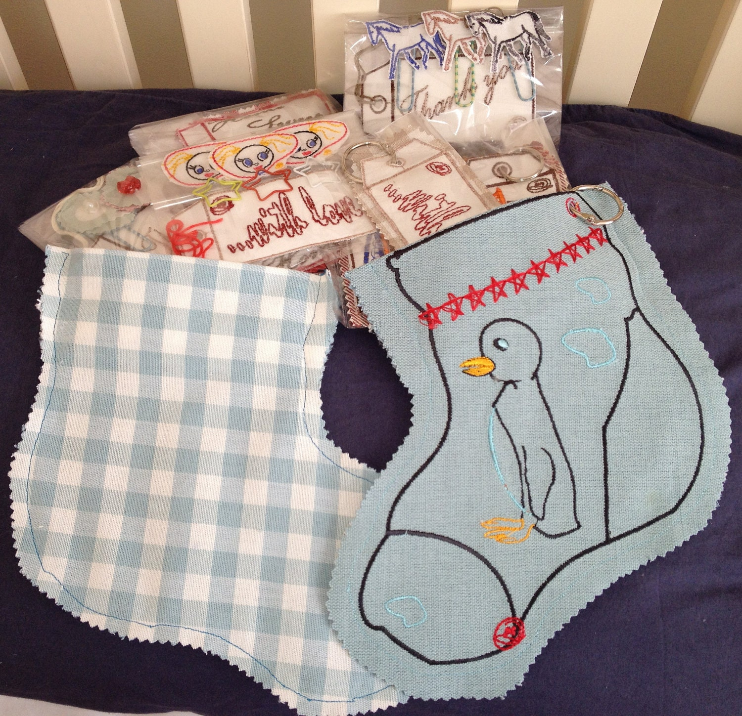 Gift Sock Stocking, Embroidery Penguin