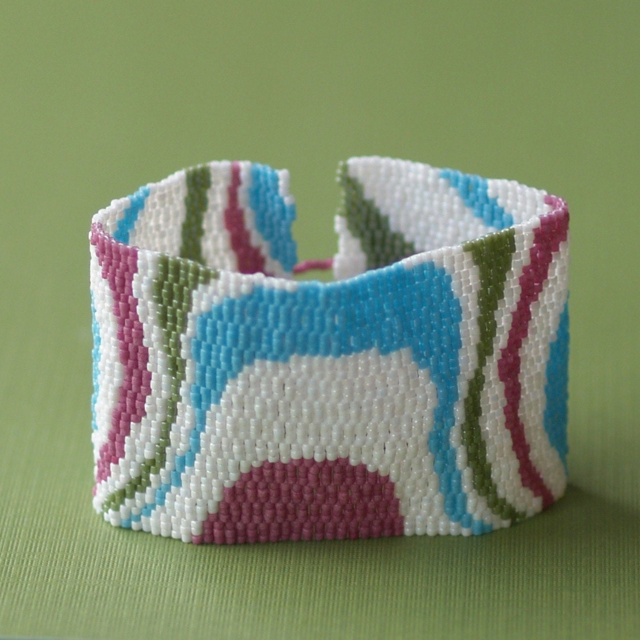 Topography - Peyote Beadwoven Cuff in Cool Retro Colors (3063)