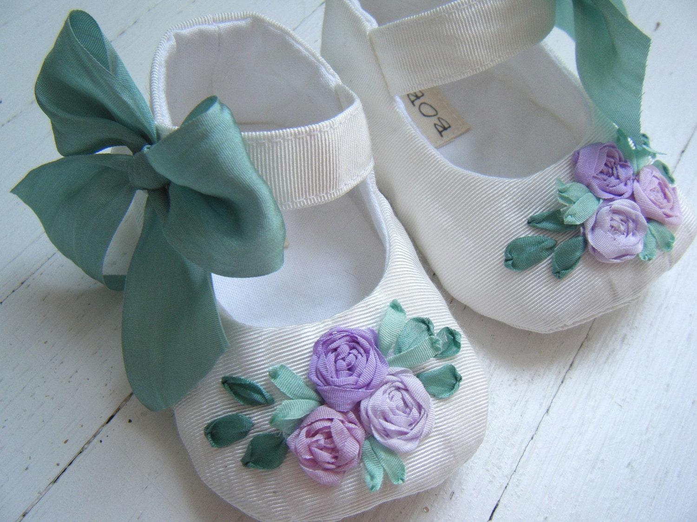Мэри 'Summer' Белый тафта Лаванда Цветы Джейн обуви для вашего ребенка девушка