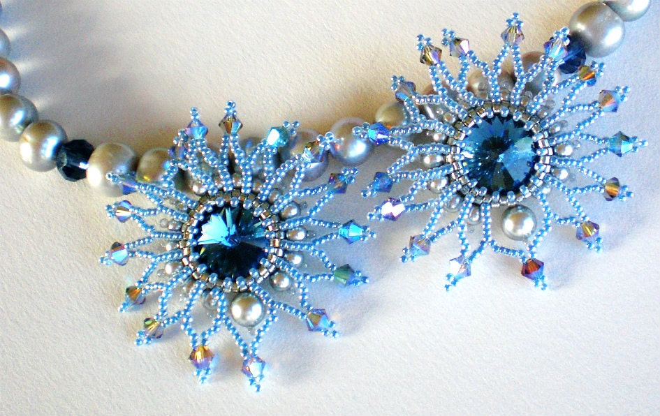 Rivoli Beadwoven  Blue Grey  Faux Pearls necklace Unique Beaded Beadwork Jewelry Blue Moon - SpringColors