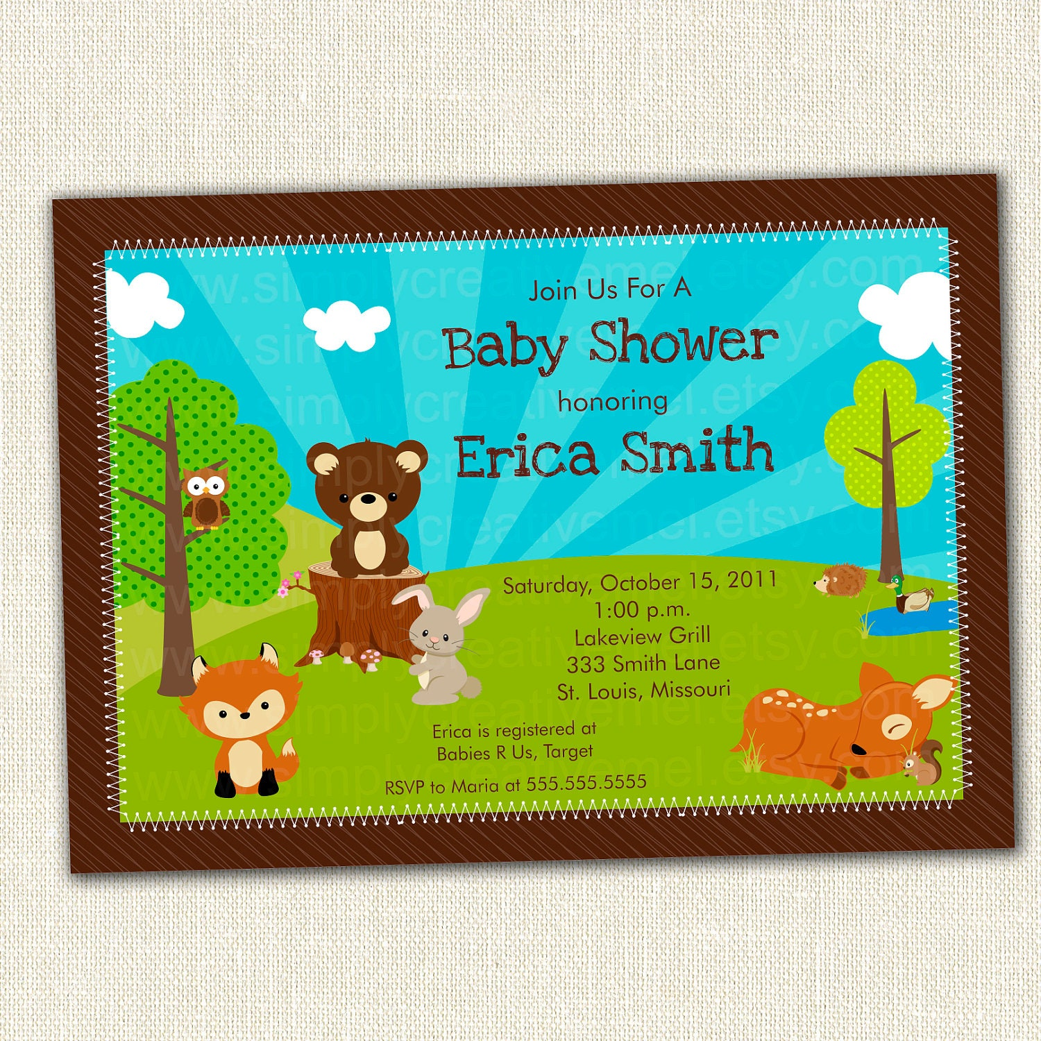 Woodland Animals Baby Shower Invitation by SimplyCreativeMel