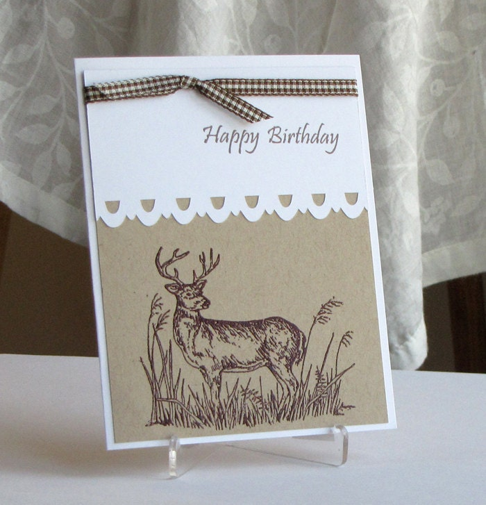 Etsygreetings handmade cards happy birthday deer greeting card sells for 450 click on the image to be taken to the shop for the special guy in your life hand stamped happy birthday deer greeting card is bookmarktalkfo Image collections