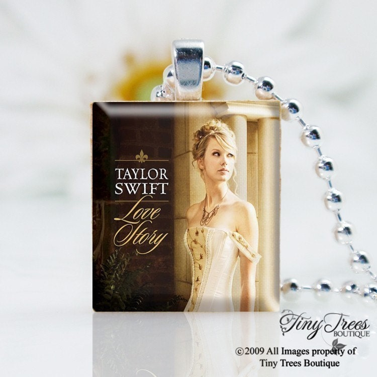 SALE -RECYCLED SCRABBLE TILE PENDANT- Taylor Swift- Love Story