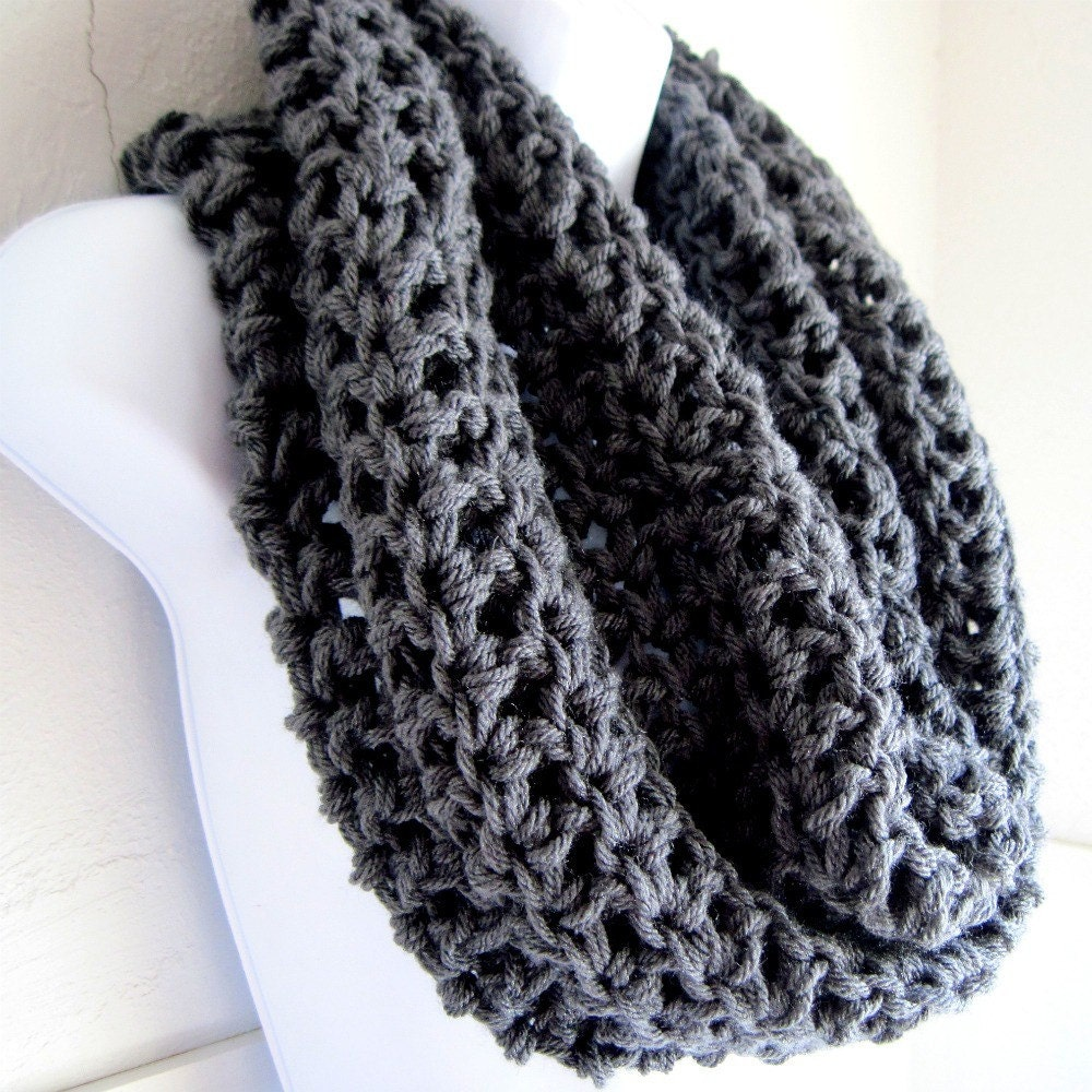 "Charcoal Gray Infinity Scarf Cowl-  Extra Large Chunky Infinity Scarf ""BOGO""  ""Buy one get one 50% off lowest price"""