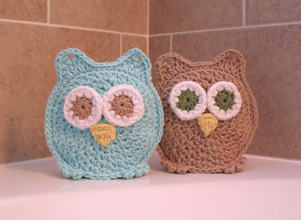 Owl Washcloths Washmitts-Bath time's a HOOT with Addy and Andrew Great for Easter Basket