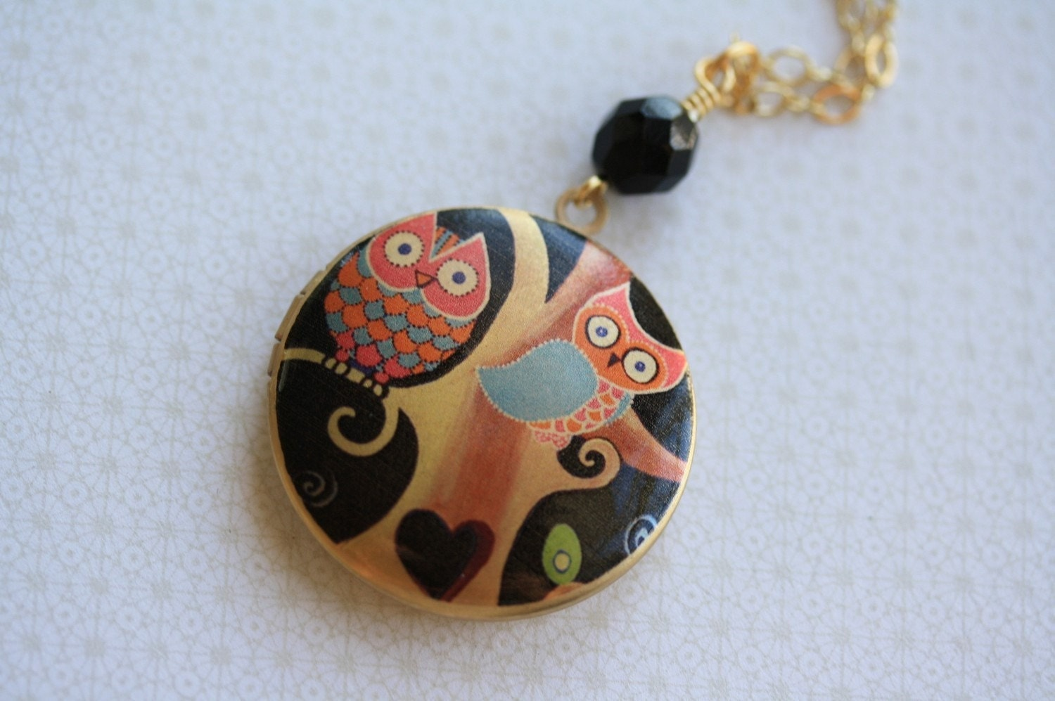The Whimsical Perching Owls Locket Necklace