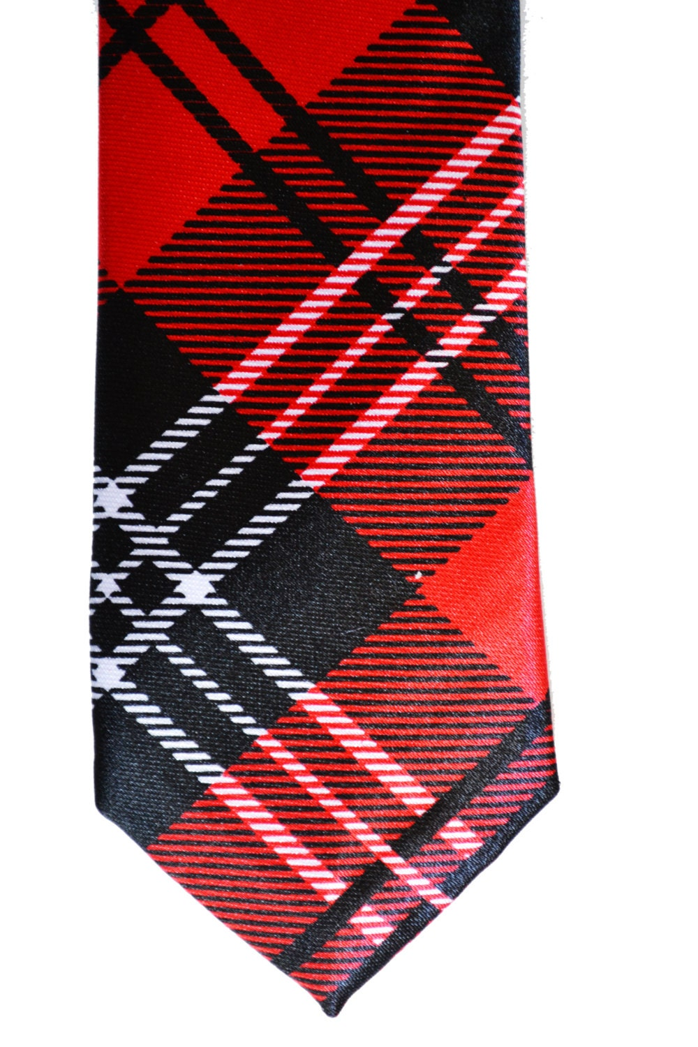 Popular Stylish Mens Tie Red and Black Modern Tartan Pattern Skinny Necktie - TiestheKnot
