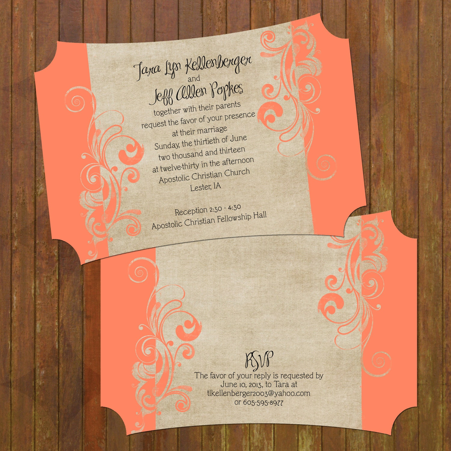 Coral Wedding Invitations Boutique Cut 133 By Gwenmariedesigns