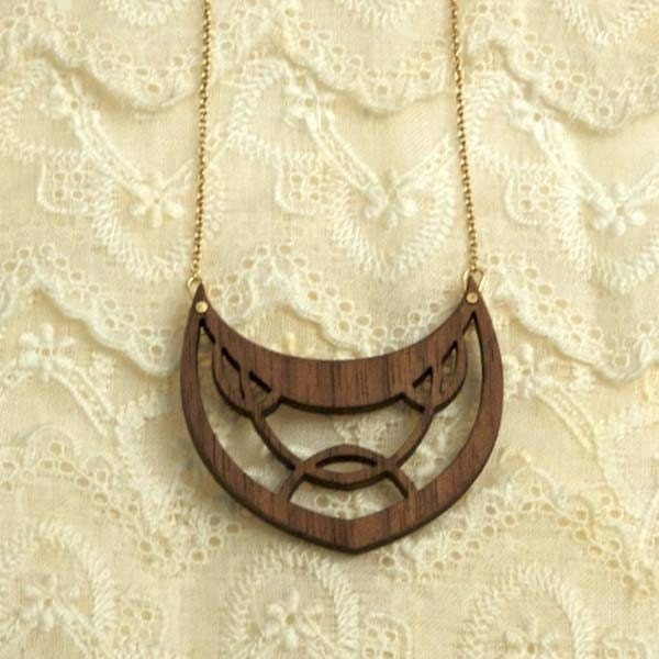 Deco drop  Necklace, Walnut