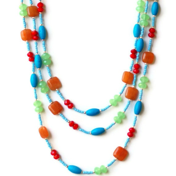 Bright multicolor extra long wrap multi-strand necklace. Handmade, OOAK. - ALFAdesigns