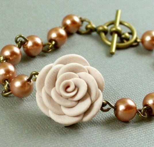 Hand Sculpted Cream Flower And Champagne Pearls - Antiqued Brass Bracelet
