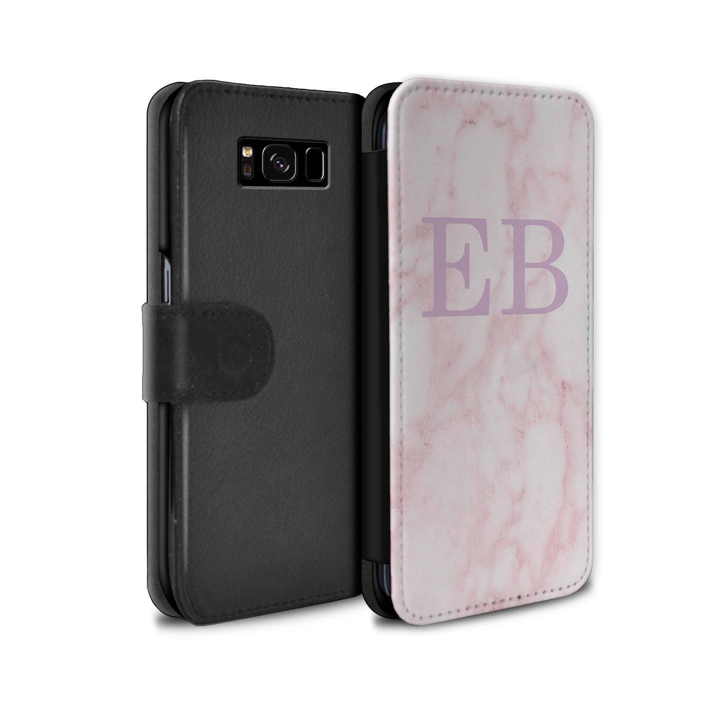Pink Marble Pink Font initial Personalized Custom Wallet Flip Phone Case Samsung Galaxy S5 S6 Edge S7 Edge S8 S8 Plus