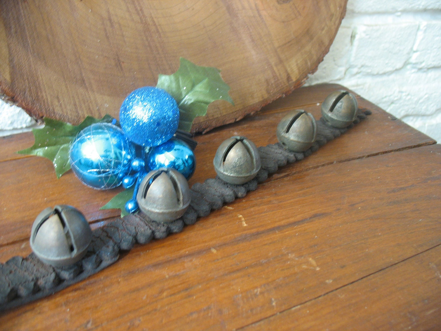 Old Brass Reindeer Bells On Leather Strap by WhimsicalRevival