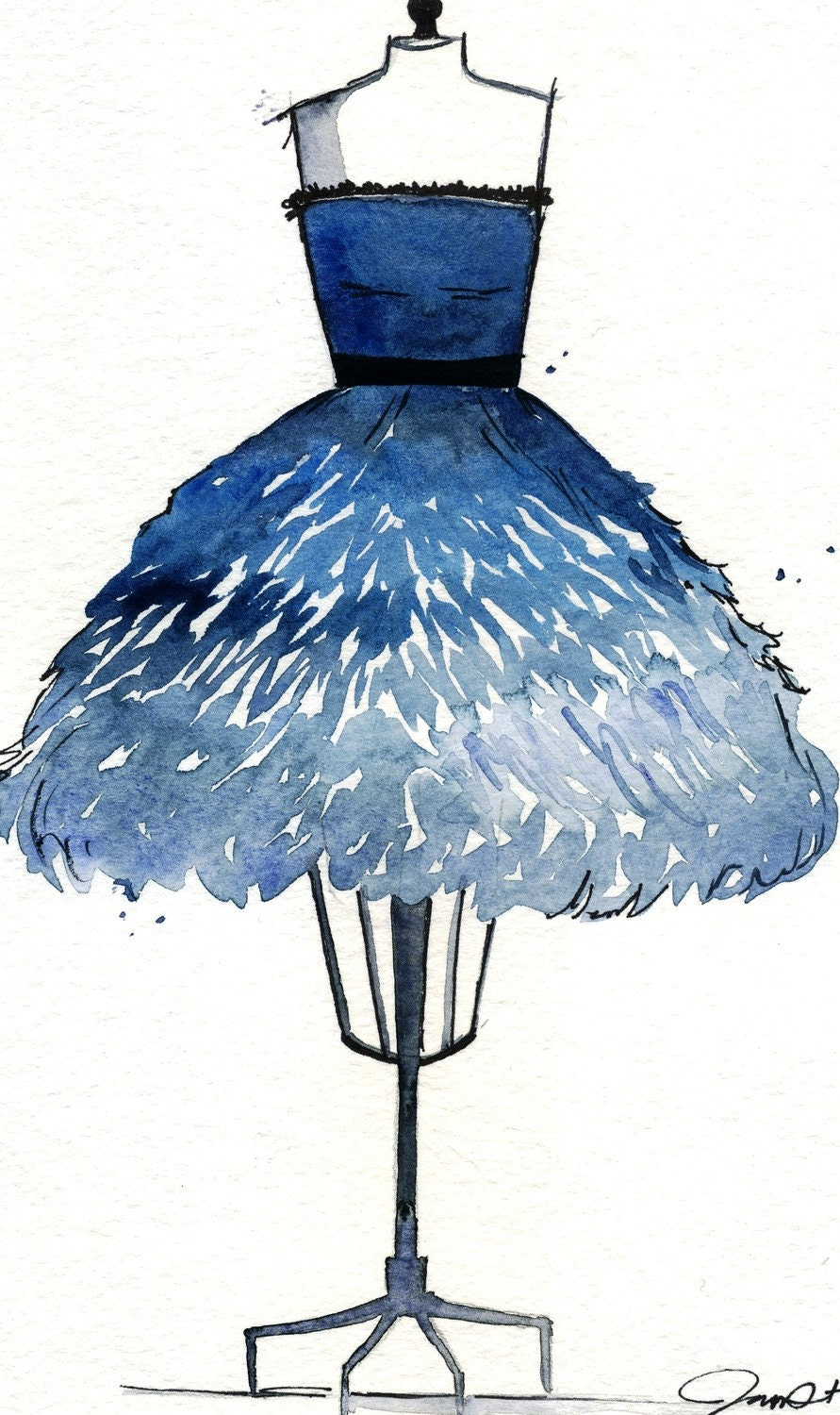 Watercolor Fashion Illustration: Birds of a Feather Dress print
