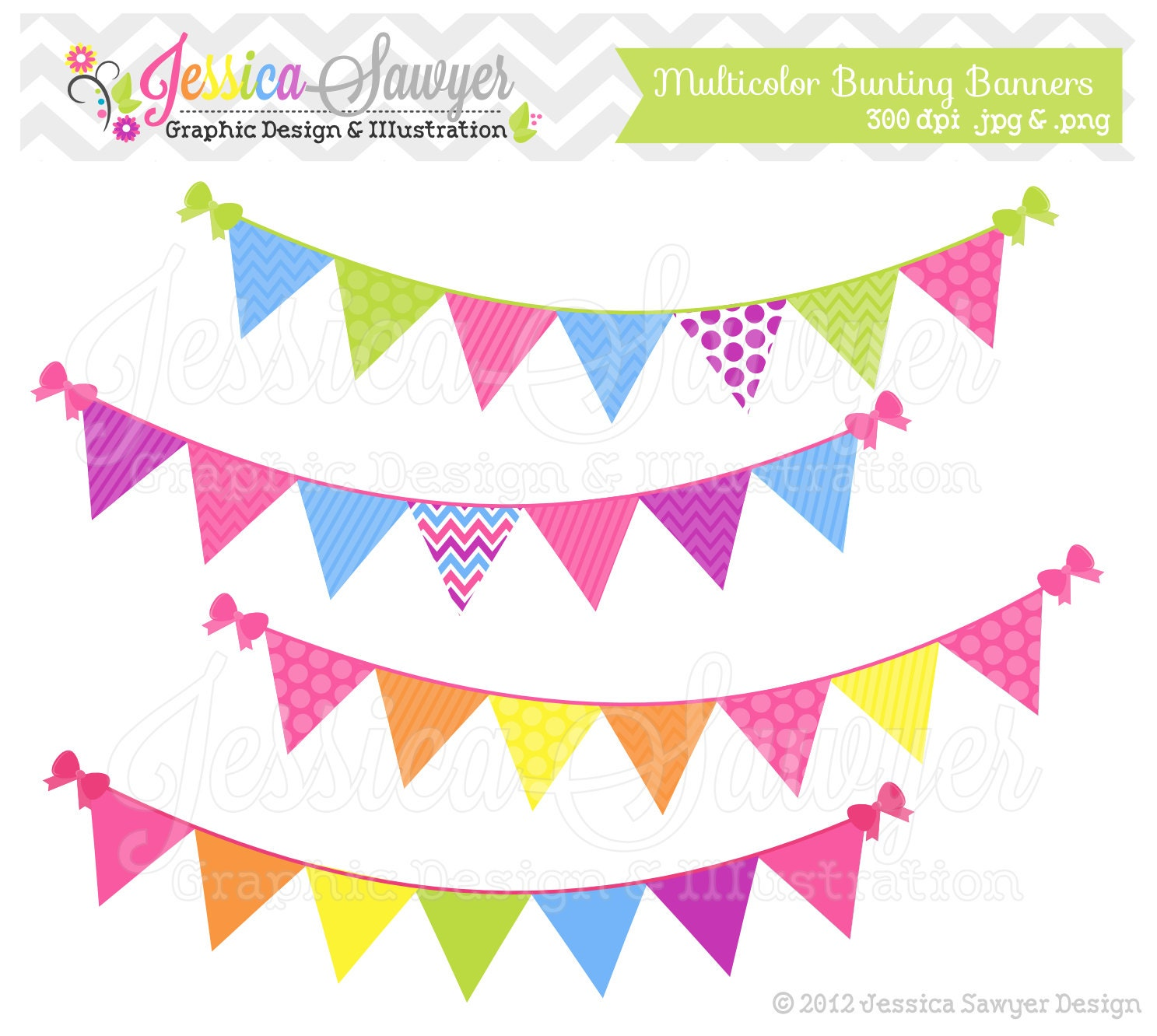 INSTANT DOWNLOAD Bunting banner clipart by JessicaSawyerDesign
