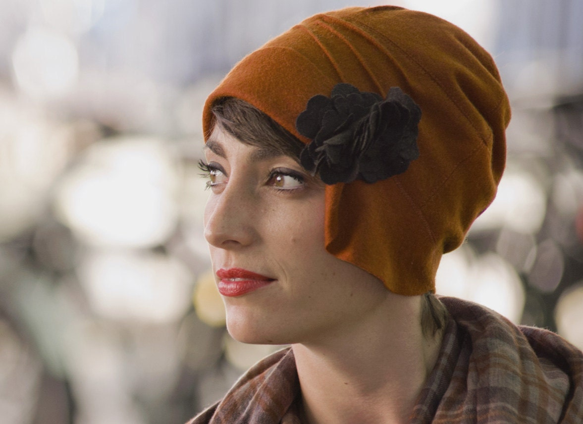 New Burnt Orange.1920s CLOCHE HAT. Stylish, Warm, Winter Accessories. Inspired by Coco Chanel.