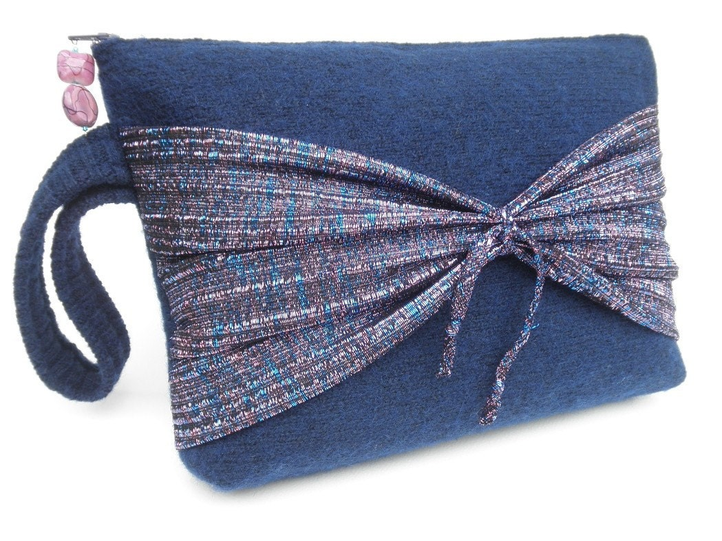 Glitzy Upcycled Wool Clutch