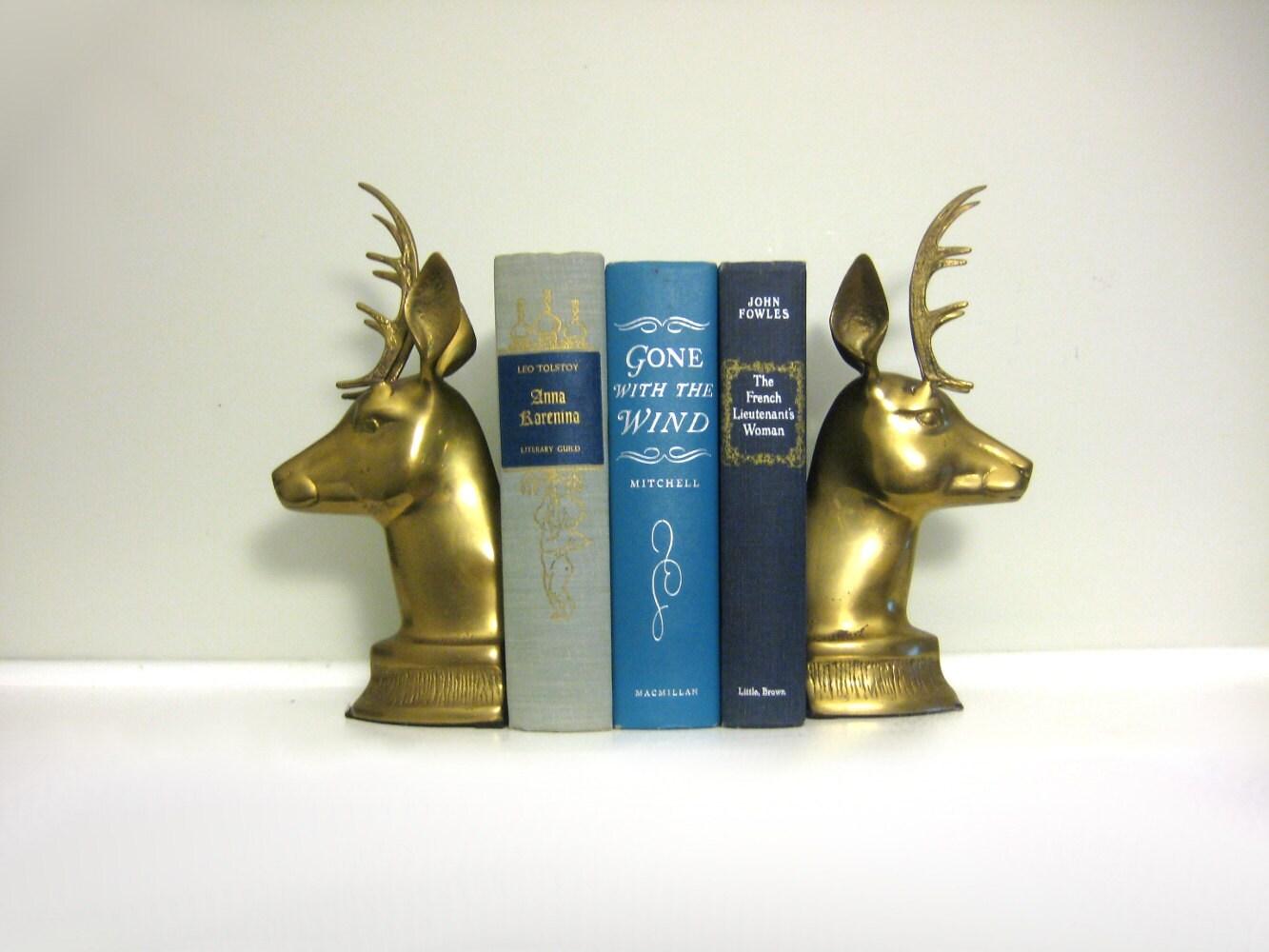 Brass deer bookends vintage 1960s deer figurines by saltandginger - Stag book ends ...