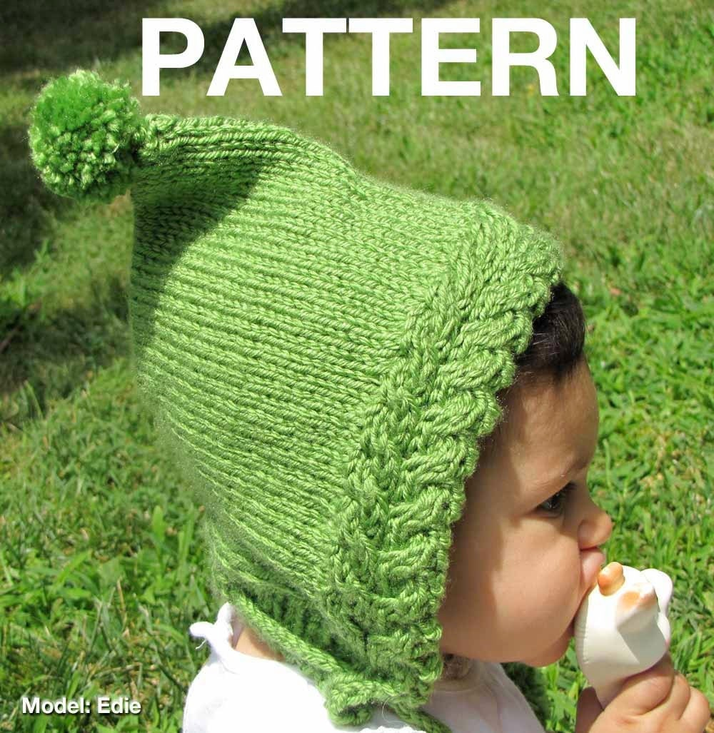 Items similar to Knitting Pattern: Urban baby pixie - hood with pompom ties o...