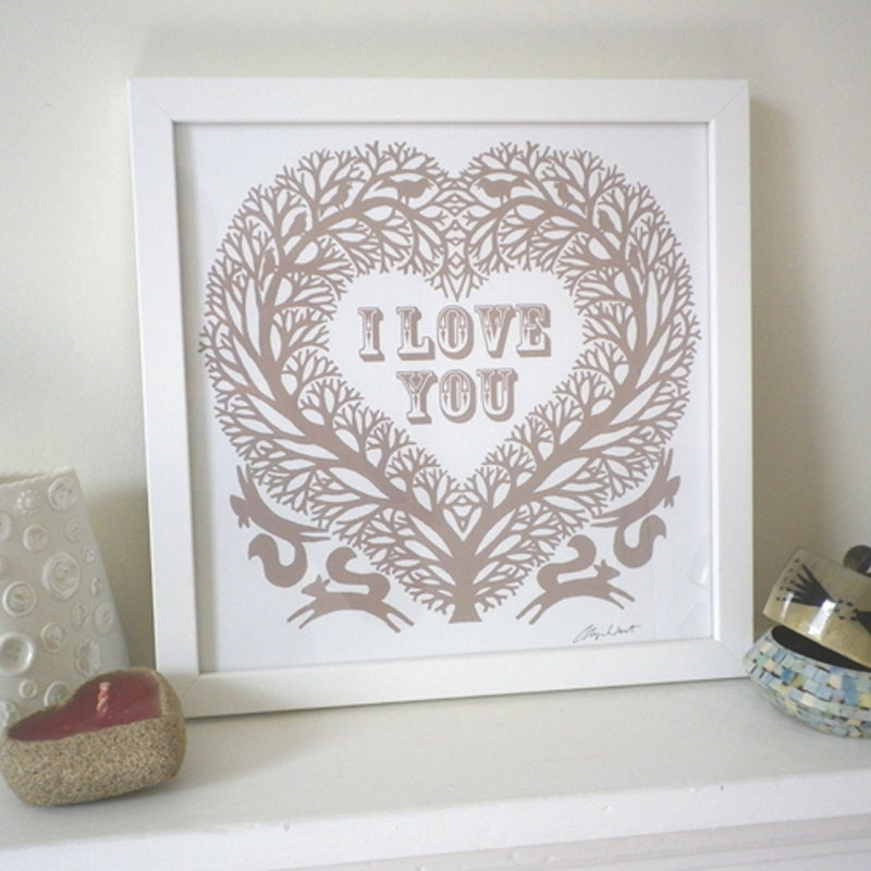 Romantic Folk Art Inspired I Love You Treeheart Print