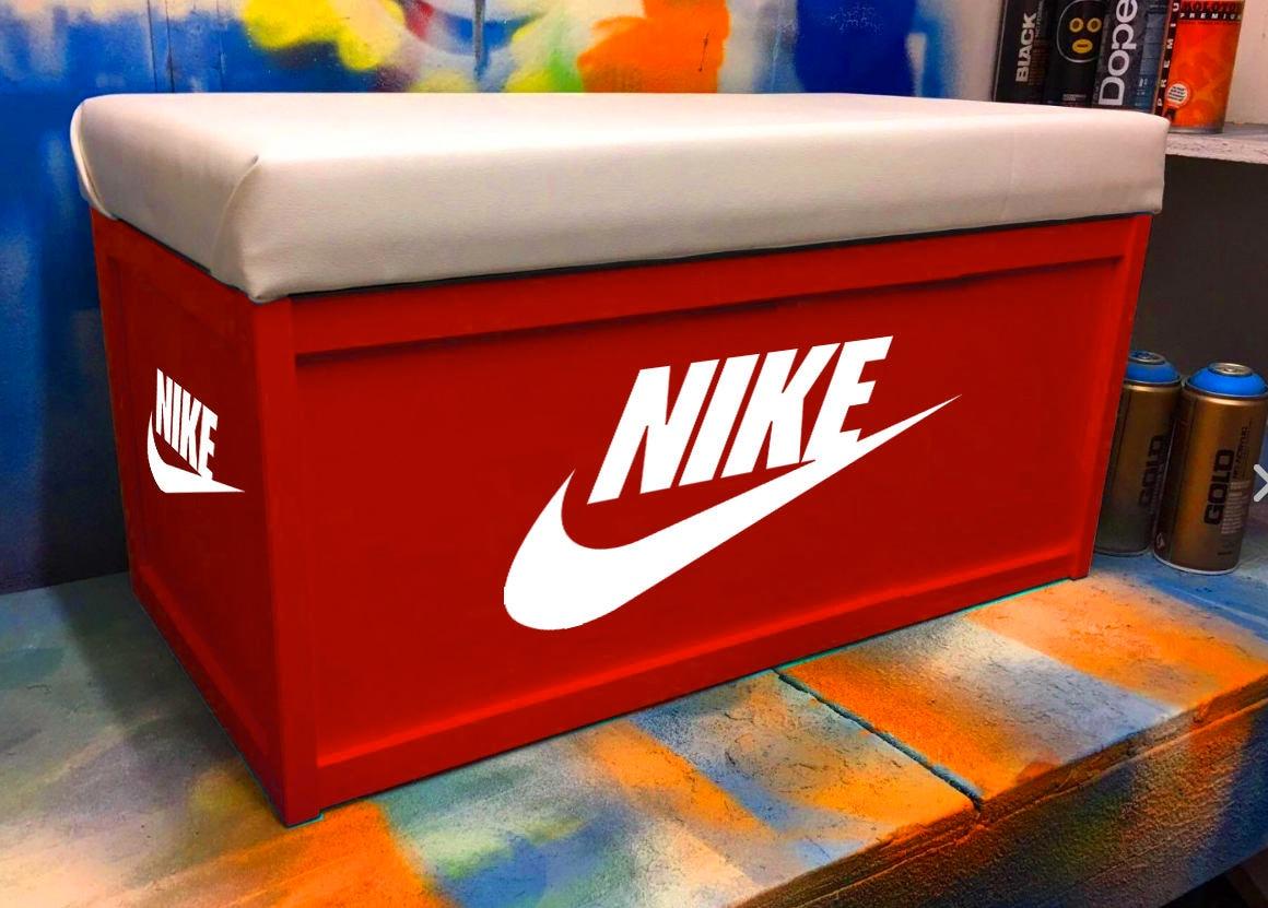 NIKE Box Custom Ottoman  Toy Box Storage Handprinted With Seat Personalised