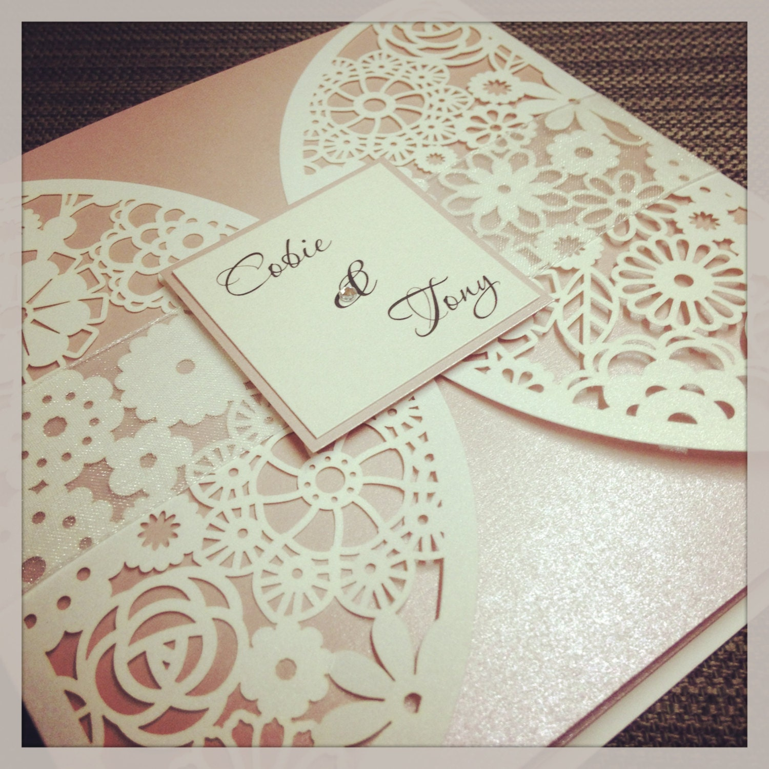 Floral Paper Lace Wedding Invitation - Laser Cut invitation with response card
