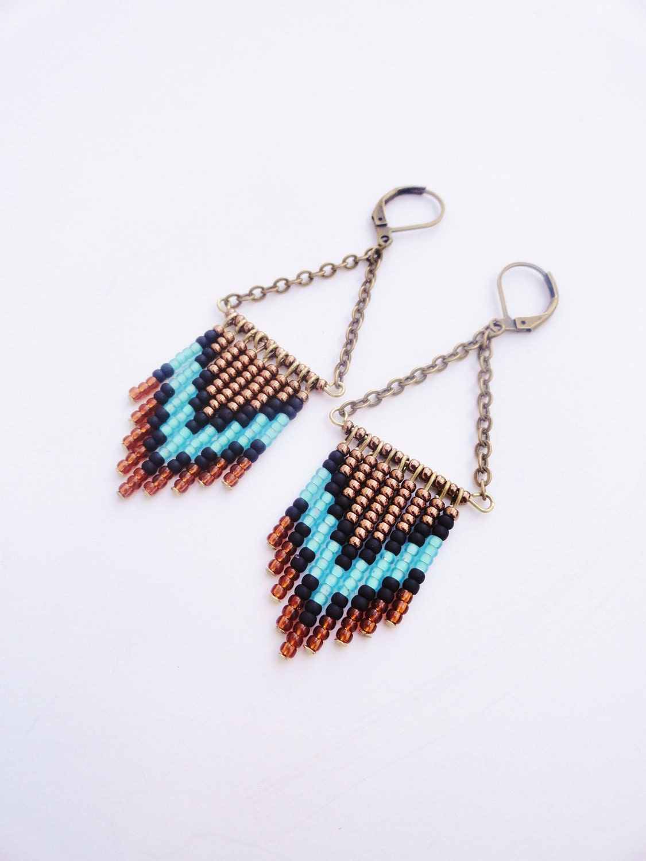 Amber, Teal, Bronze and Black Beaded Chevron Fringe Earrings - MoonAndPearlJewelry