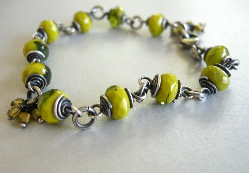 chartreuse and green glass bracelet. contemporary glass beads, sterling silver