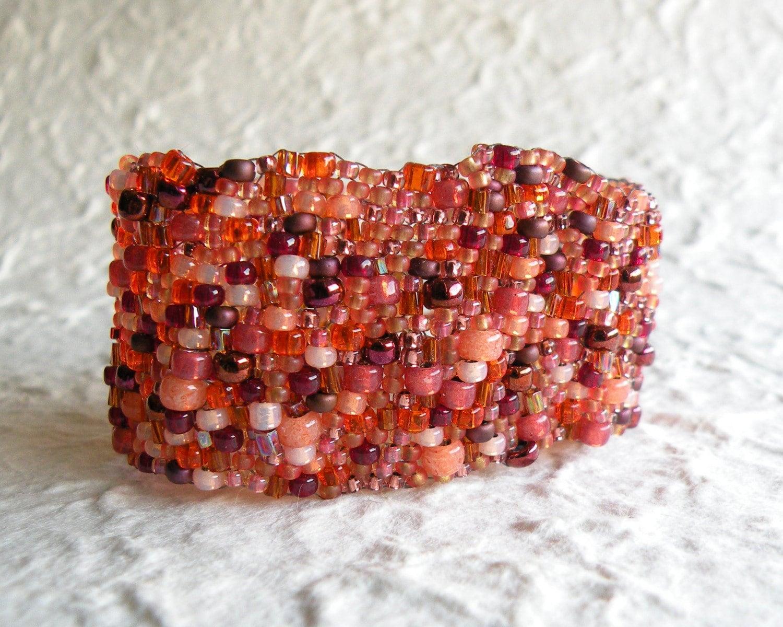 Naranje Freeform Peyote Bracelet
