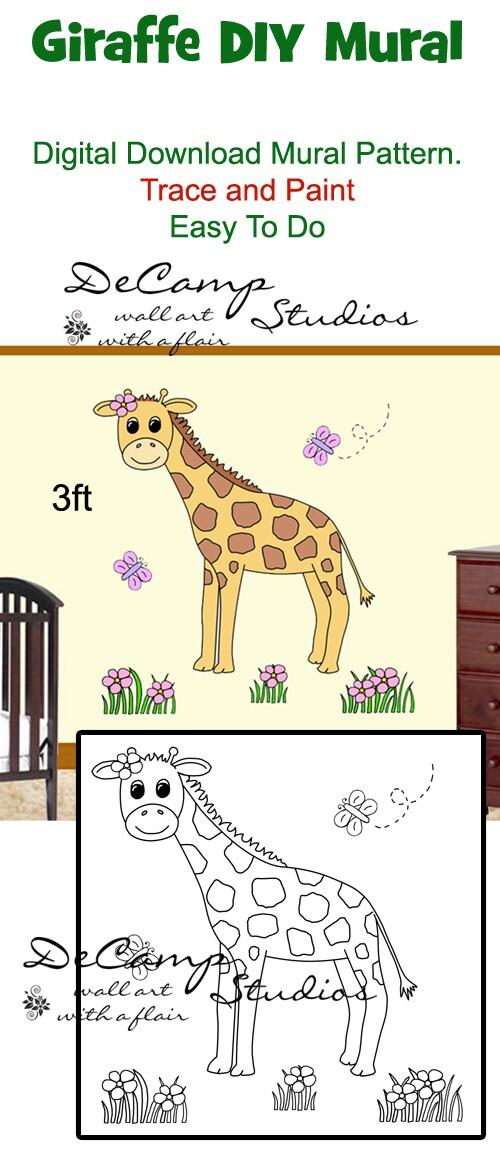 Diy giraffe mural wall pattern printable digital by for Diy mural painting