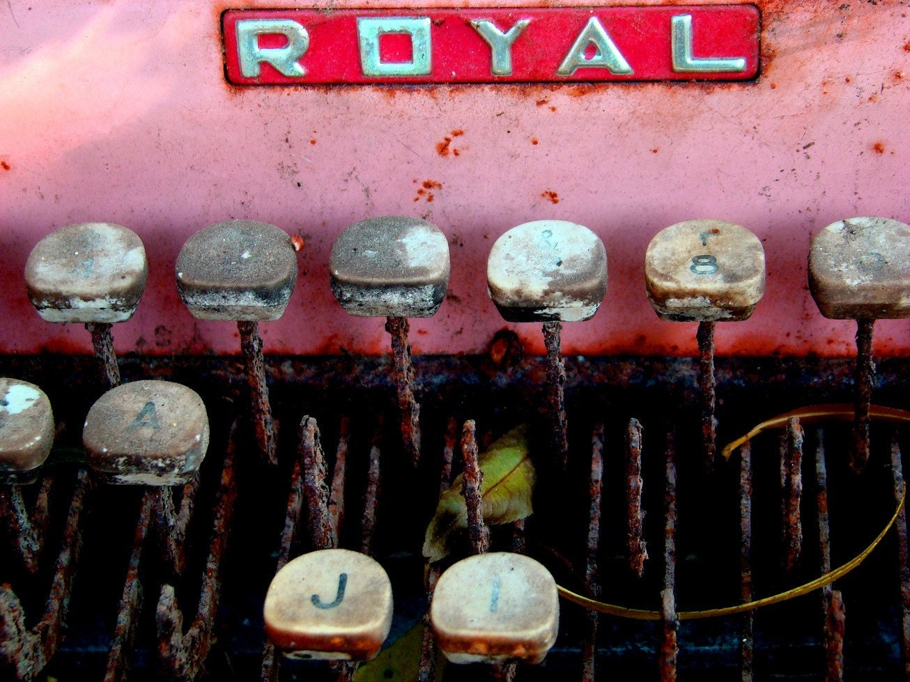 8 x 10 Royalty-Vintage Royal Typewriter in Pink and Red